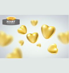 golden realistic hearts isolated on background vector image