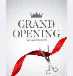 grand opening card with ribbon background vector image