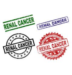 Grunge textured renal cancer stamp seals vector
