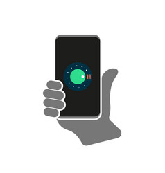 Hand hold smartphone with a new version vector