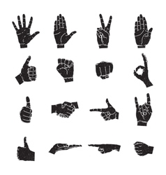 Hand icon collection silhouette vector image