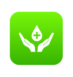hands holding blood drop icon digital green vector image