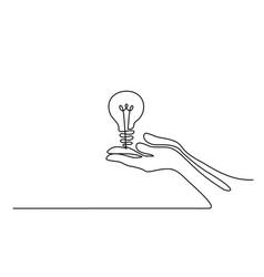Hands palms together with light bulb vector