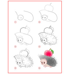 How to draw cute little hedgehog with apple vector