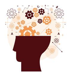 human head mind gear memory mentality work vector image