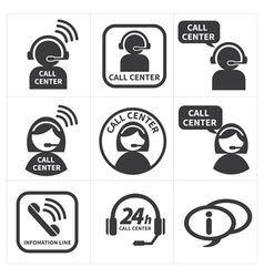 Icon set call center vector