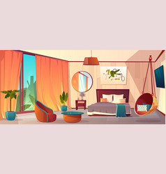 Interior of hotel bedroom winter resort vector