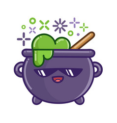 Kawaii smiling halloween witch cauldron cartoon vector