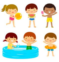 kids at beach or pool vector image