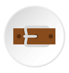 Leather belt with silver buckle icon circle vector