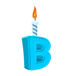 letter b birthday font letter and candle vector image