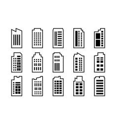 line icons building set on white background black vector image
