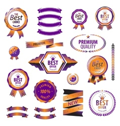 Luxury orange premium quality best choice labels vector
