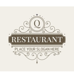 Luxury vignette and monogram template vector