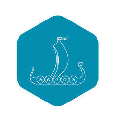 medieval boat icon outline style vector image