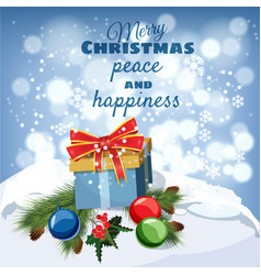 merry christmas greeting card old table covered vector image