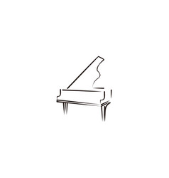 Mono line piano musical logo vector