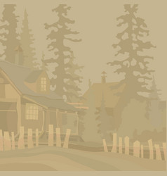 monochrome background village houses with a vector image