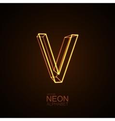 Neon 3d letter v vector