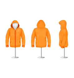 Orange hoodie with zipper on mannequin vector