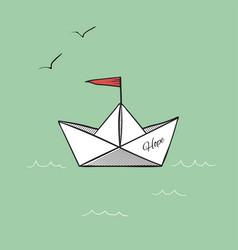 origami paper ship hope on sea waves vector image
