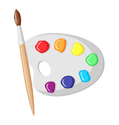 Paintbrush and palette of paints vector