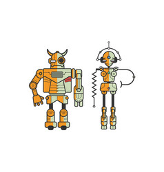 Pair of colorful funny cartoon robots isolated vector