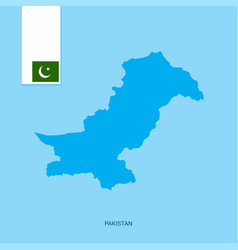 pakistan country map with flag over blue vector image