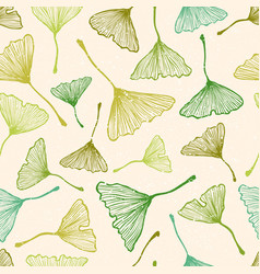 Pattern with green ginkgo biloba leaves vector