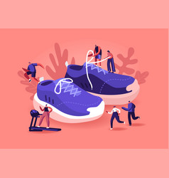people wearing sneakers concept sportsmen and vector image