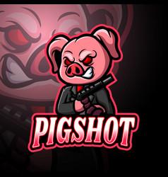 pig esport logo mascot design vector image