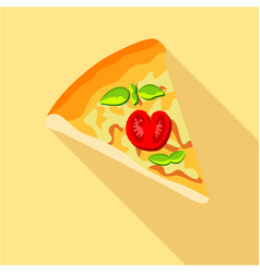Pizza with tomatoes and basil icon flat style vector