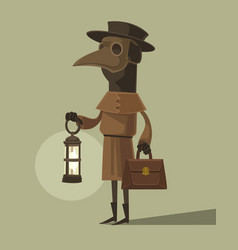 plague doctor character mascot crow mask vector image