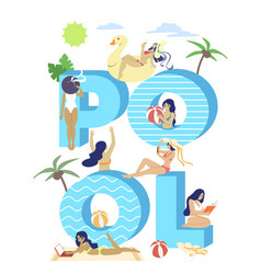 pool typography banner template flat vector image