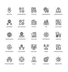 project management line icons set 22 vector image