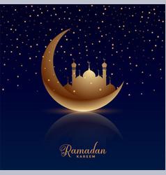 Ramadan kareem moon mosque and stars shiny vector
