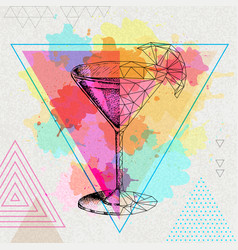 Realistic and polygonal cocktail cosmopolitan vector
