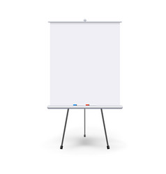 Realistic blank flipchart with three legs vector