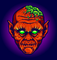 Red devil out brains creepy vector
