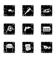 Repair icons set grunge style vector