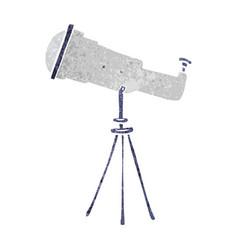 Retro cartoon doodle of a large telescope vector