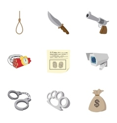 Robbery icons set cartoon style vector