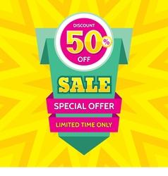 Sale banner design discount 50 vector