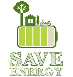 Save energy poster with green design vector