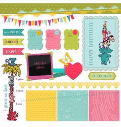 Scrapbook design elements - birthday baby set vector