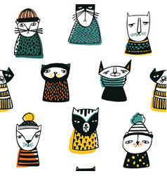 seamless pattern with funny cartoon cats muzzles vector image