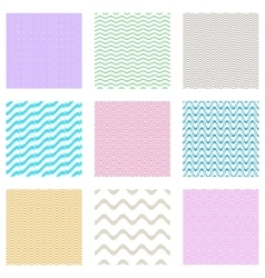 Seamless wavy line patterns vector