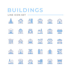 set color line icons buildings vector image