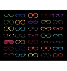 set colored glasses retro geek vector image