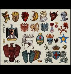 set heraldic elements vector image